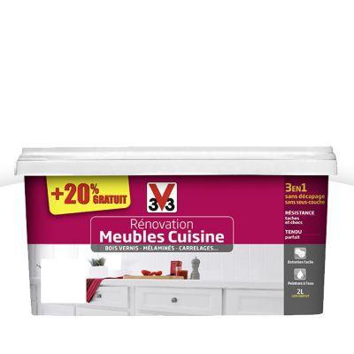 Peinture De Rénovation Meubles Cuisine V33 Blanc Satin 2L + 20% Gratuit |  Castorama.