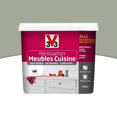 Peinture de r novation meubles cuisine v33 vert sauge satin 0 75l castorama - Peinture v33 meuble ...
