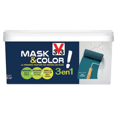 Peinture De Rénovation Multi Supports V33 Mask Color Bleu Canard Mat 2 5l Castorama