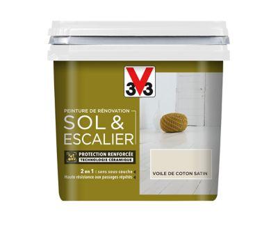 Peinture De Rénovation Sol Et Escalier V33 Voile De Coton Satin 0 75l Castorama