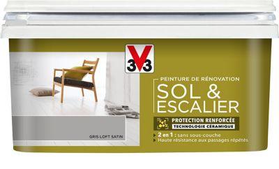 Peinture De Rénovation Sol Et Escalier V33 Gris Loft Satin 2l Castorama