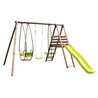 Aire de jeux en bois Popa 2. Matière de la structure : Pin sylvestre (origine Pologne). Classe du bois : IV. Traitement du bois : Contre le pourrissement et l'attaque des insectes. Agrès et accessoires : 1 balancelle cocoon + 1 vis-à-vis cocoon + 1 balanç