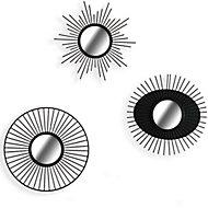 Set 3 miroirs métal noir Ø 25 cm