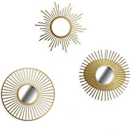 Set 3 miroirs métal or Ø 25 cm