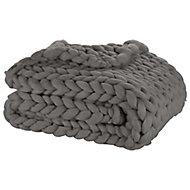 Plaid grosse maille acrylique 130x150cm gris