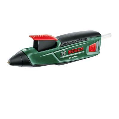 Pistolet à colle Glue Pen BOSCH. Ce - pistolet à colle - est idéal pour un collage rapide. Vous obtiendrez un travail propre grâce à la rétractation automatique de la colle et vous pourrez même compenser les irrégularités sur les surfaces non planes. Cara