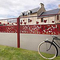 Lame de clôture bois composite Dirickx WPC Cottage brun clair et rouge 3004