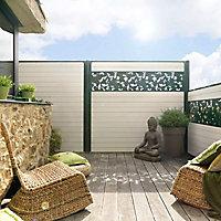 Lame de clôture bois composite Dirickx WPC Cottage brun clair et vert 6005