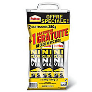 Pattex Ni Clou Ni Vis Chrono lot de 2 cartouches 380 g + 1 gratuite
