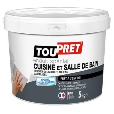 Enduit blanc spécial cuisine et salle de bain Toupret 5kg