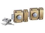 2 verrous s'entrouvrants Bricard Alpha à bouton et cylindre 45 mm