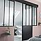 Porte coulissante en acier vitrée Atelier noir 83 cm
