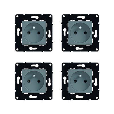 Lot de 4 mécanismes de prises de courant avec terre Magnésium Espace. Caractéristiques techniques de ces mécanismes de prises de courant : - Usage : Permet le branchement d'appareillage électroménager (machine à laver, réfrigérateur, micro-ondes). Fonctio