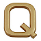 """Lettre dorée """"Q"""" en relief"""