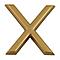 """Lettre dorée """"X"""" en relief"""