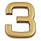 """Chiffre dorée """"3"""" en relief"""