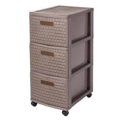 tour de rangement 3 tiroirs en plastique country coloris. Black Bedroom Furniture Sets. Home Design Ideas