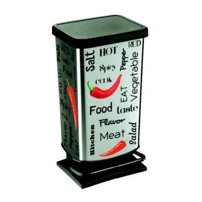 Mettez un grain de folie dans votre cuisine avec cette poubelle à pédale en métal aussi pratique qu'originale. Son flocage spécial cuisine s'intégrera parfaitement dans votre pièce. d'une contenance de 40 litres, elle saura se faire discrète à proximité d