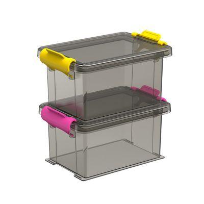 2 boîtes de rangement avec couvercle en plastique Funcenter 0,35L coloris fumé | Castorama