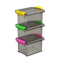 3 boîtes de rangement avec couvercle en plastique Funcenter 0,15L coloris fumé