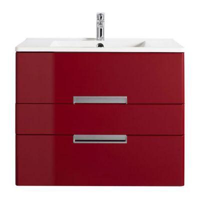 Meuble de salle de bains rouge impérial DECOTEC Belt 80 cm