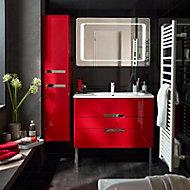 Meuble de salle de bains rouge impérial Decotec Belt 100 cm