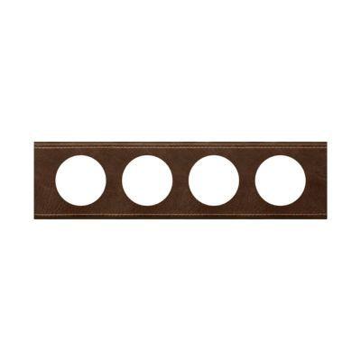 Plaque Céliane 4 postes Matière Cuir Brun Texturé . Personnalisez votre intérieur avec un large choix de couleurs et matières de plaques décoratives Céliane. Fonction / type : Plaque quadruple - Usage du produit : Plaque de finition décorative - Finition