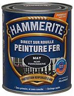 Peinture fer direct sur rouille Hammerite noir mat ferronnerie 0,75L