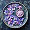 Toile imprimée Coupelle fleurie bleu 30 x 30 cm