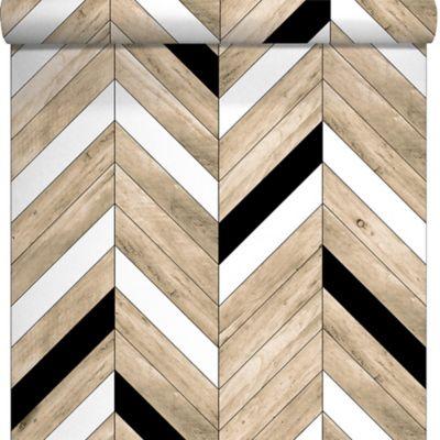 Papier Peint Duplex Chevrons Beige Et Noir Castorama