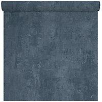 Papier peint vinyle sur intissé Love Your Walls Matière uni bleu