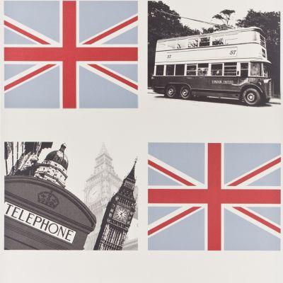 Papier peint papier sur papier LUCETE Londres multicolore