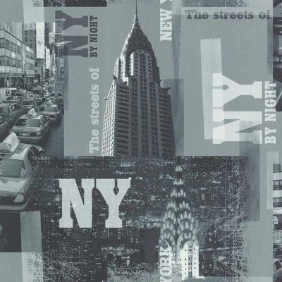 Papier peint LUTECE Streets of New York by night noir et blanc