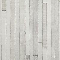 Papier peint vinyle sur intissé Lutèce lamelles bois gris