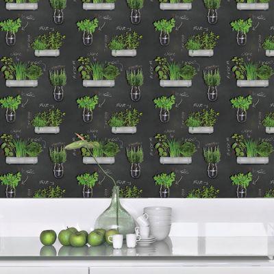 Papier Peint Vinyle Sur Papier Plantes Aromatiques Noir Vert Castorama