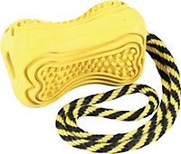 Jouet pour chien caoutchouc avec corde Titan M jaune