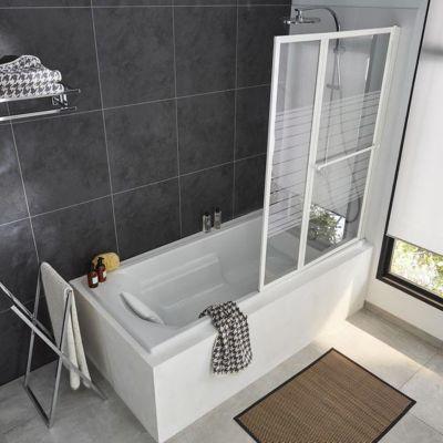 Pare baignoire relevable 2 volets profil s blanc 140 x 104 - Barre de baignoire d angle extensible ...