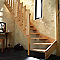 Escalier 1/4 tournant gauche bois l.80 cm 13 marches chêne rampe à balustres plates