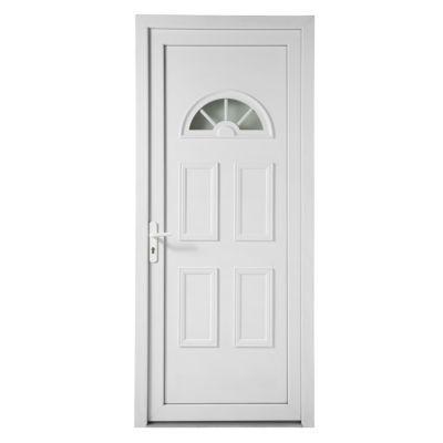 Porte d'entrée pvc 1/2 lune 90 x h.215 poussant droit