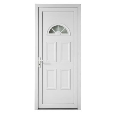 Porte d'entrée pvc 1/2 lune 90 x h.215 poussant gauche