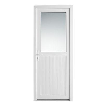 Porte de service pvc 1/2 vitrée Servicio 80 x h.205 poussant droit