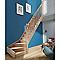 Escalier 1/4 tournant droit bois l.80 cm 13 marches hêtre rampe à balustres tournés