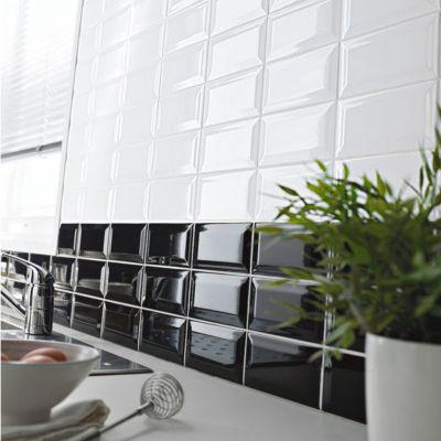 Carrelage mur noir 7 5 x 15 cm hd2i m tro vendu au carton castorama - Faience cuisine metro ...