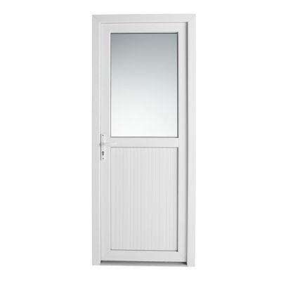 Porte de service pvc 1/2 vitrée Servicio 90 x h.205 cm poussant droit