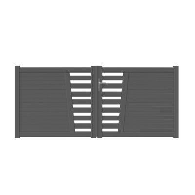 - Modèle : Carco - Matière : Aluminium assemblé - Traitement de la matière : Résine polyesther - Dimensions : l.3,50 x H 1,32 m - Coloris + RAL : Gris antique - Type d'ouverture : Battant - Motorisable : Oui - Finition : Semi ajouré - Forme : Droit - Larg
