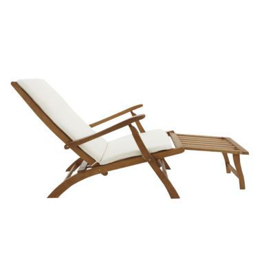 Faites place à la détente avec ce steamer en bois avec coussins. Avec son repose-pieds, son assise rembourrée et ses 2 accoudoirs, il se montre ultra confortable. Fabriqué en eucalyptus, il est résistant aux conditions extérieures. Il est déhoussable et t