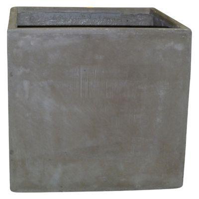 Pot carré fibres d'argile taupe 29 x 29 x h.30 cm