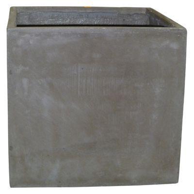 Pot carré fibres d'argile taupe 42 x 42 x h.40 cm