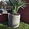 Pot rond composite gris Ø38 x h.39 cm