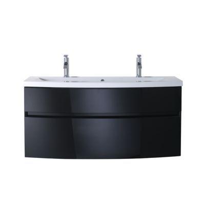Meuble sous vasque noir brillant COOKE & LEWIS Nile 120 cm